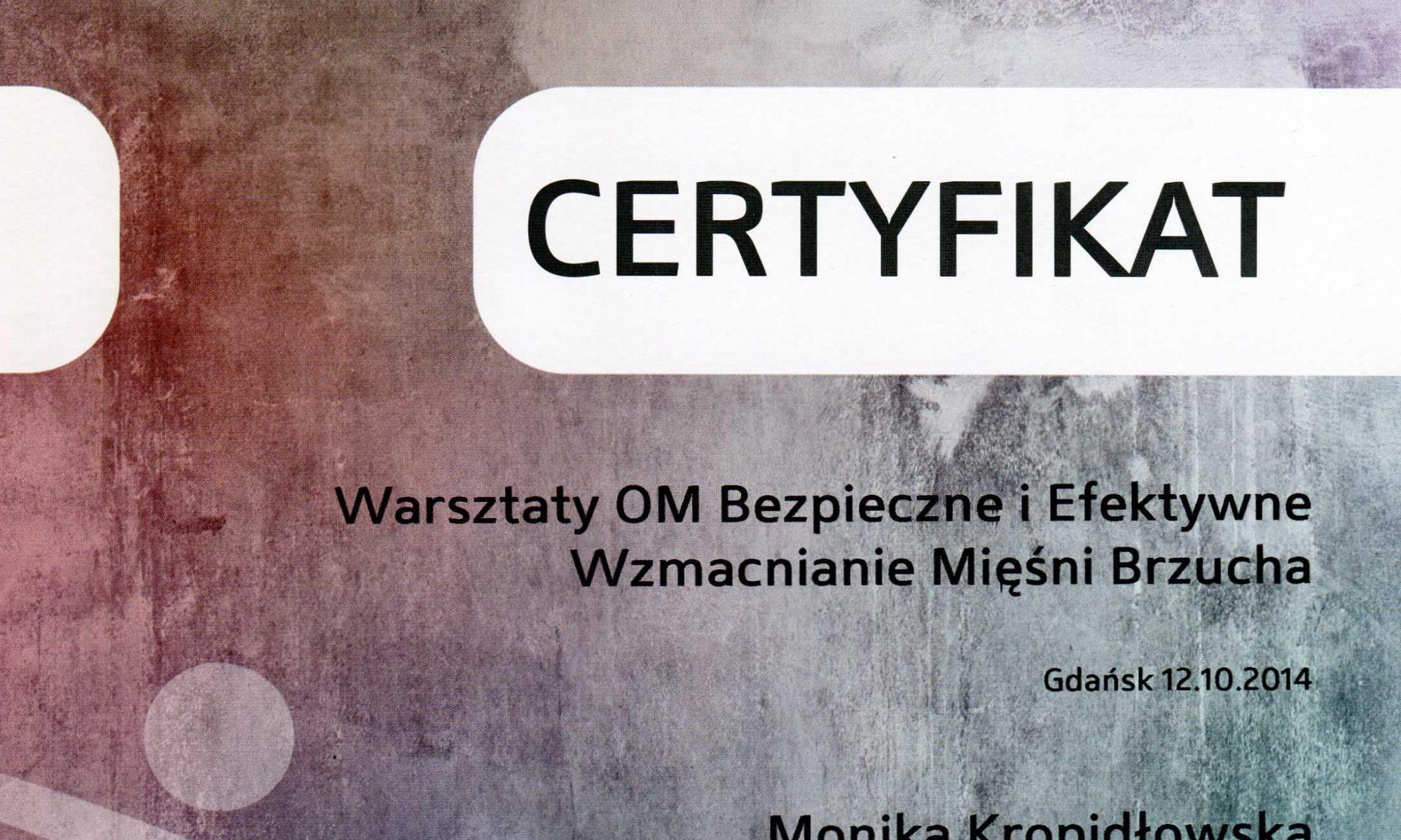 Kinesis Studio Certyfikat Warszaty