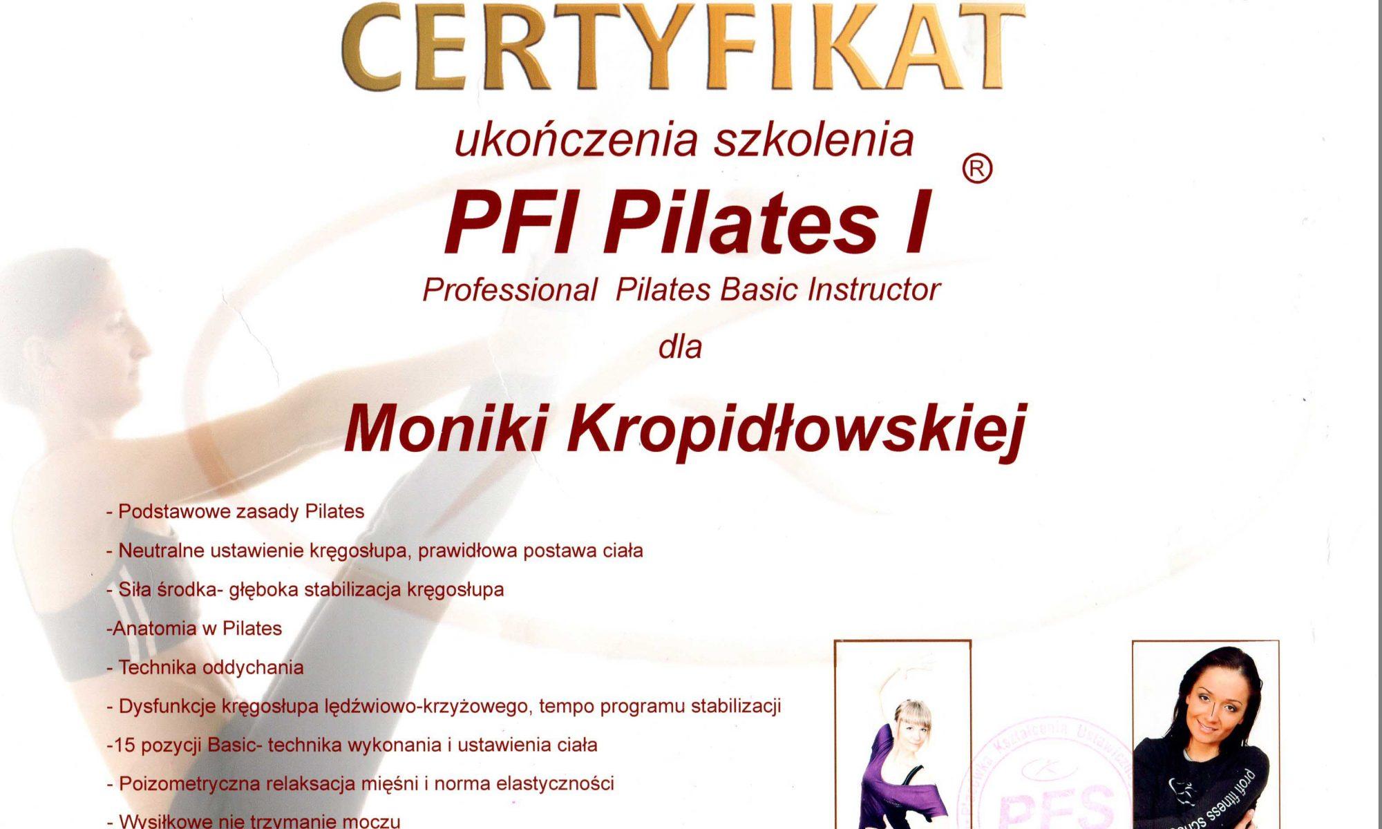 Kinesis Studio Certyfikat Ukończenia Szkolenia PFI Pilates I